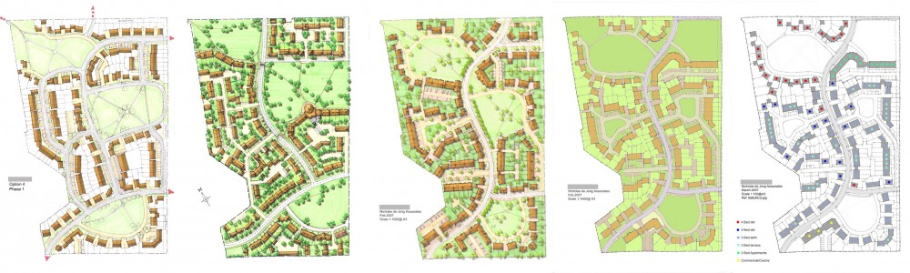 5 layout options, hand-drawn, town extension, planning