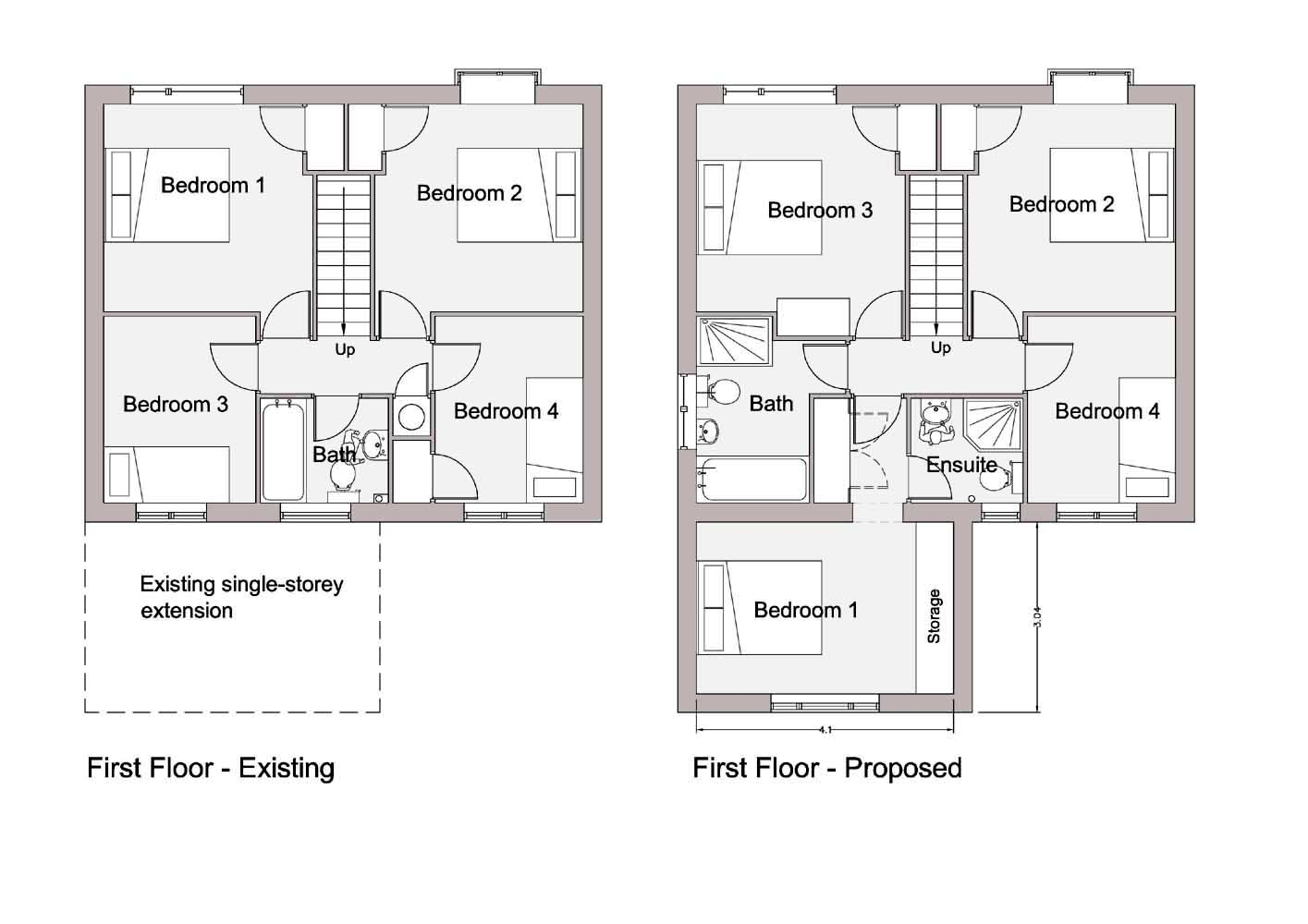 Floor plans and elevations planning drawings are required to show the