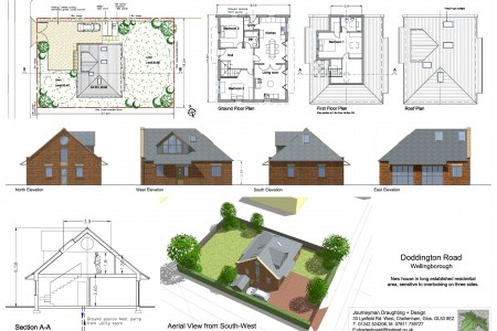 Textured elevations for new house, planning, aerial view, Journeyman Draughting