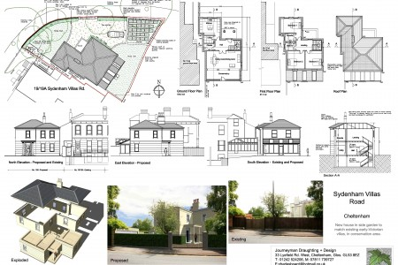 Infill house for planning, listed area, classical, elevations, plans, photomontage, architect, extension