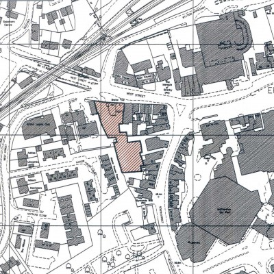 Infill of backland commercial area-towncentre, planning, urban design, architecture, architect