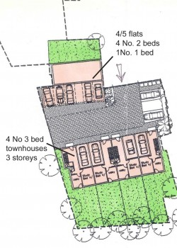 Residential coverage for part site, town houses and flats