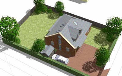Textured/shadowed Sketchup model for planning, Cheltenham, Gloucestershire, architect