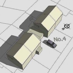Roof form existing, semi-detached house, model-sketchup, shadows, planning, option 1