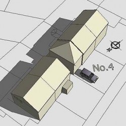Semi-detached house, roof model-sketchup, shadows, planning, option 2