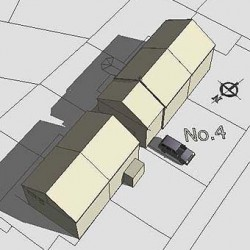 Semi-detached house, roof model-sketchup, shadows, planning, option 3