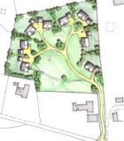 Housing layout for planning Dingle 1, clustered-organic layout, evolved, natural