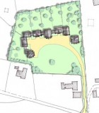 Formal layout-sketch option, utilising views south, sweeping drive