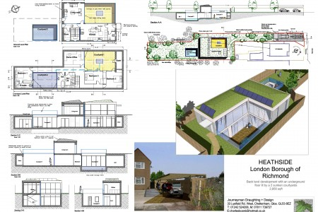 2 storey house, part underground, garden-development, eco-house, PV cells, eco-house