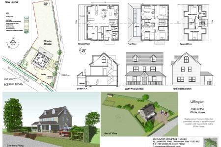 Planning drawings, Journeyman Draughting, Job-sheet, views south, new house
