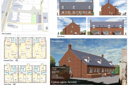 Planning drawings, Journeyman Draughting, Job-sheet, 3 cottages Upton