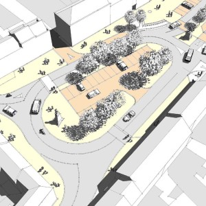 regeneration project, aerial-view, basic sketchup model, architect