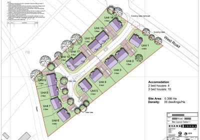 Sketch Autocad and Photoshop images for housing layout, Gloucestershire, 30 dwellings per hectare, medium density