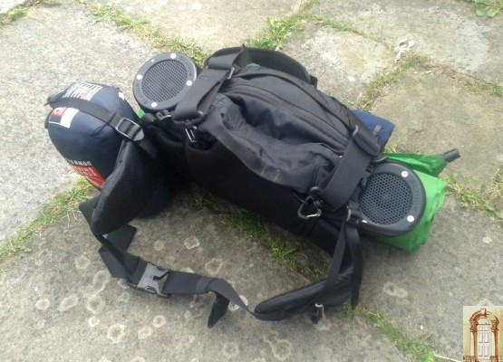 10 litre Northface bumbag with 2 Minirig speakers